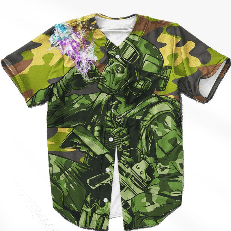 Chilling Out Soldier Smoking Marijuana Cool Baseball Jersey