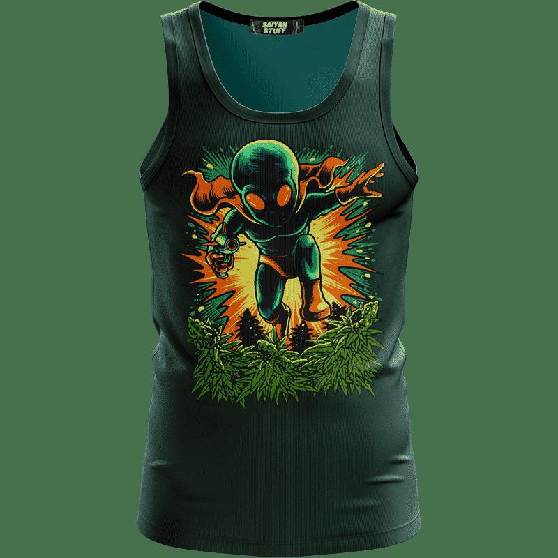 Cool Alien Vector Art Cartoon Style Marijuana Kush Green Tank Top
