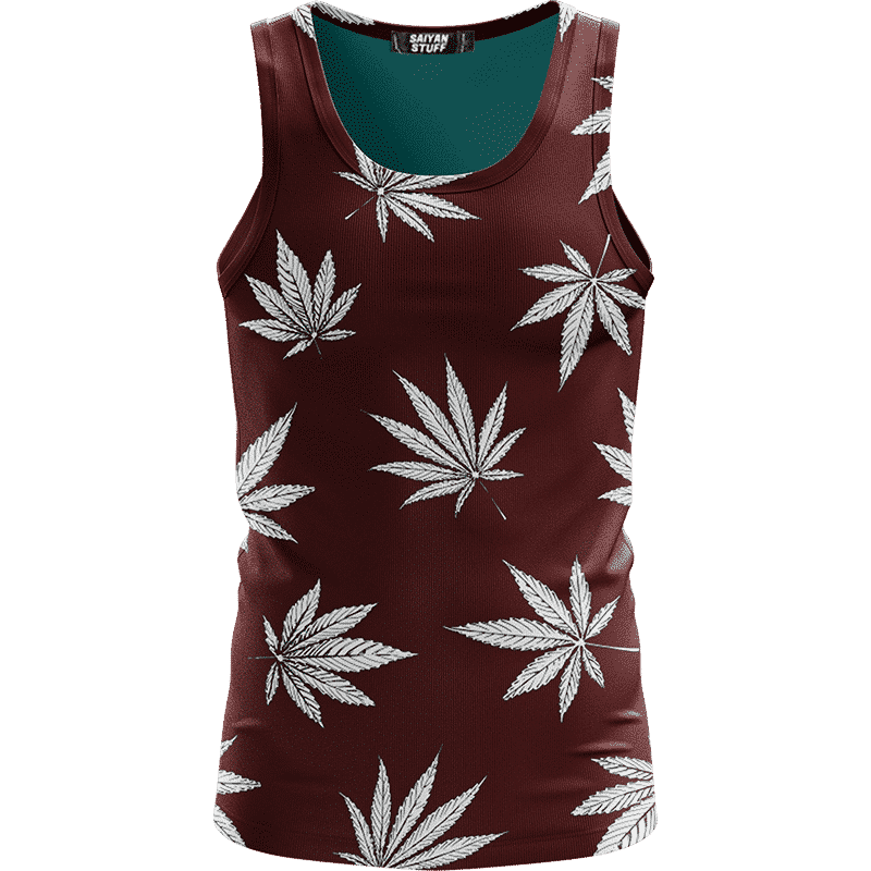 Cool Marijuana Leaves On Print Dark Red Awesome Tank Top