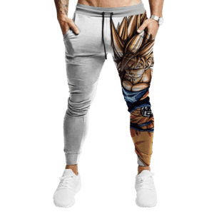 DBZ Goku Super Saiyan 2 HD Artwork Simple White Jogger Pants