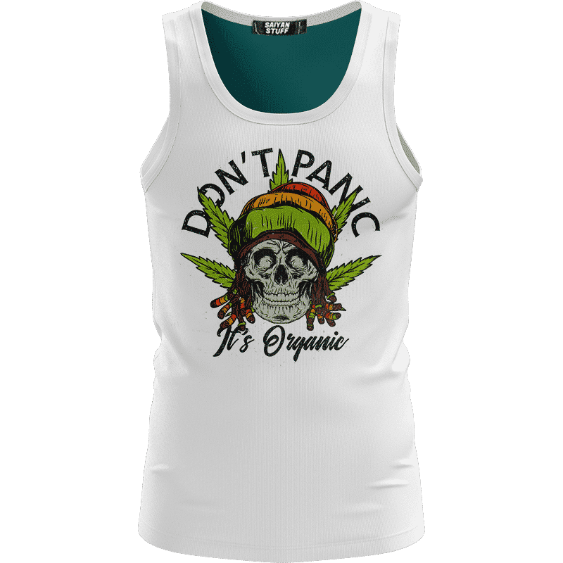 Don't Panic It's Organic Reggae Cool Vector Art White Dope Tank Top