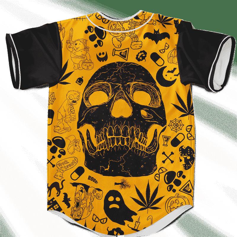 Dope Doodle Art Cartoon Skull 420 Marijuana Baseball Jersey