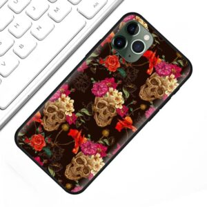 Dope Skull & Rose Floral Pattern Black iPhone 12 Case