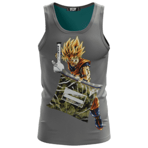 Dragon Ball Z Goku Holding Bong And Bag Of Weed Dope Gray Tank Top