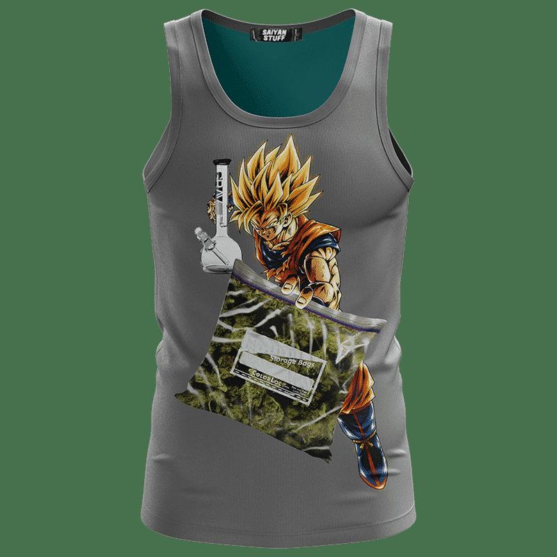 Dragon Ball Z Goku Holding Bong And Bag Of Weed Dope Gray Tank Top