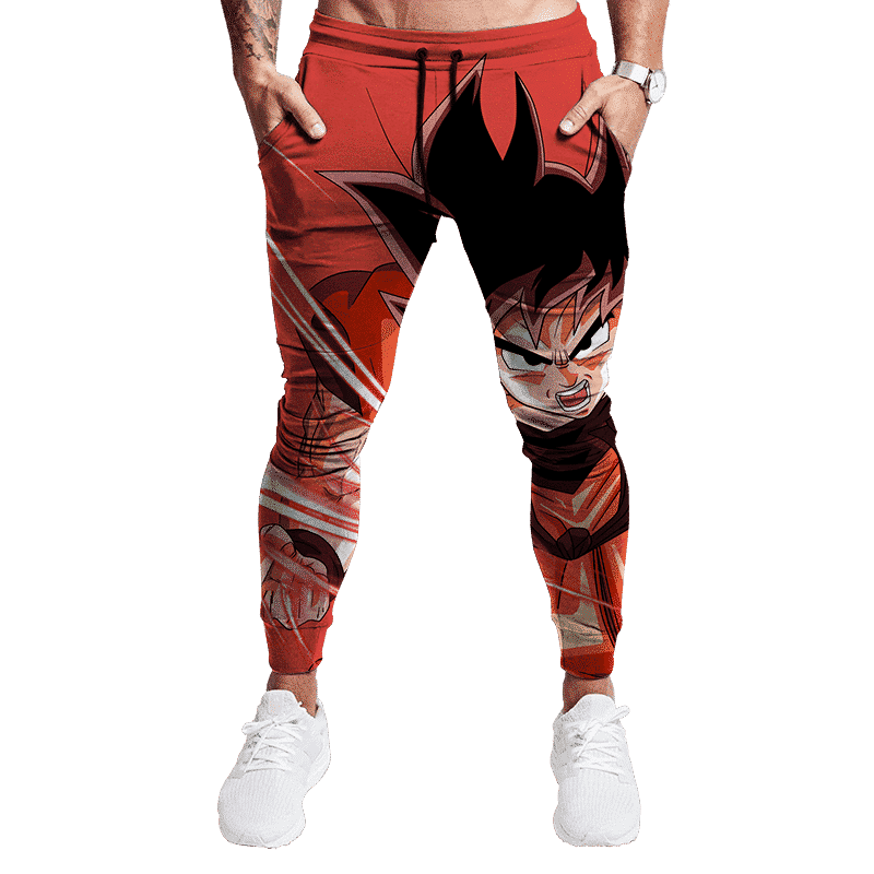 Dragon Ball Z Goku In Charging Pose All Over Print Red Joggers