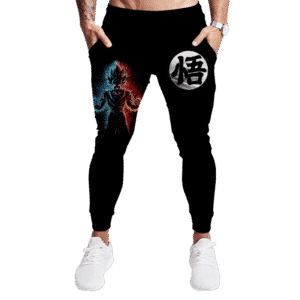DBZ Goku's Kanji Blue Red Dope Art All Black Jogger Pants
