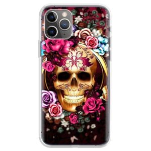 Elegant Golden Skull & Colorful Roses Cool iPhone 12 Case