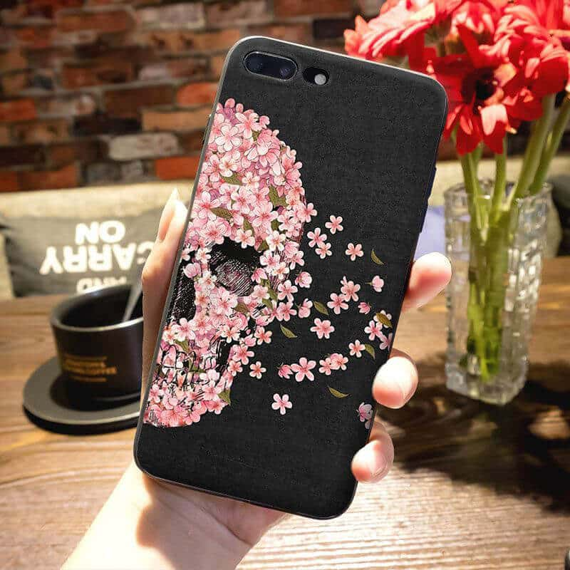 Elegant Half Skull Covered In Pink Flowers iPhone 12 Case