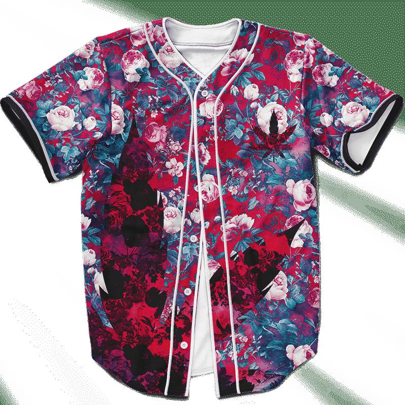 Floral Pattern 420 Marijuana Kush Leaf Weed Baseball Jersey