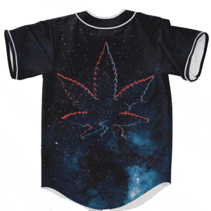 Galaxy Geometric Retro Marijuana Leaf 420 Weed Baseball Jersey