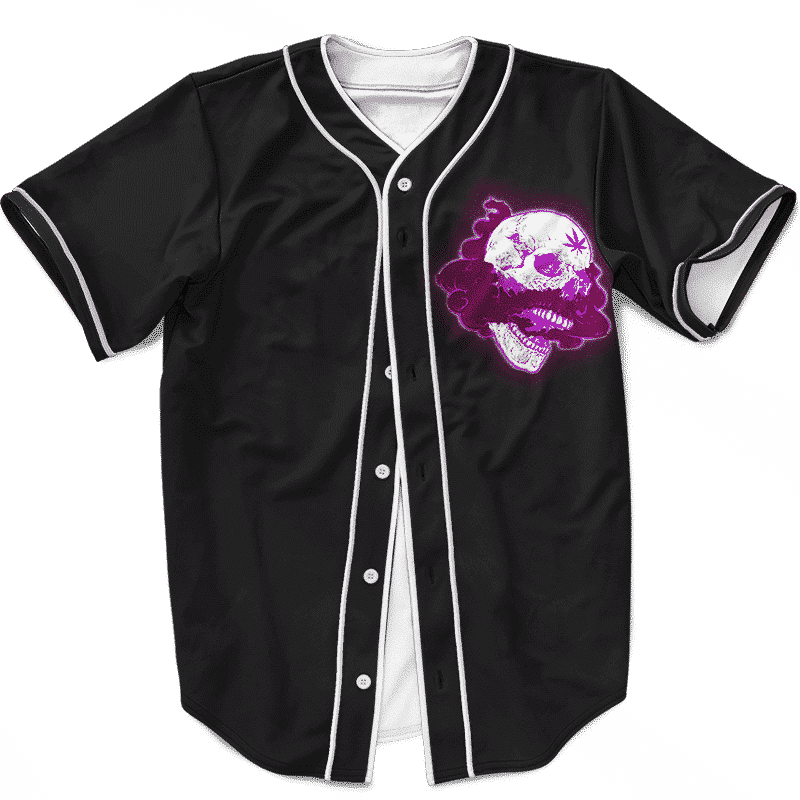 Glowing Purple Skull Smoke Weed 420 Marijuana Baseball Jersey