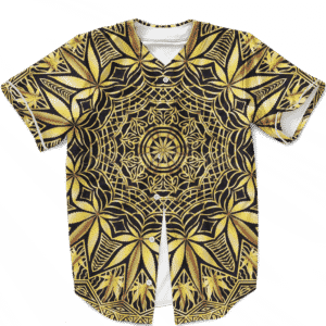 Golden Marijuana Mandala Awesome Geometry Stylish Baseball Jersey