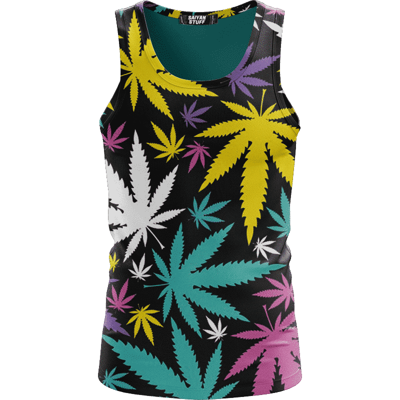 Hemp Doobie Ganja Colorful Patterns 420 Black Tank Top