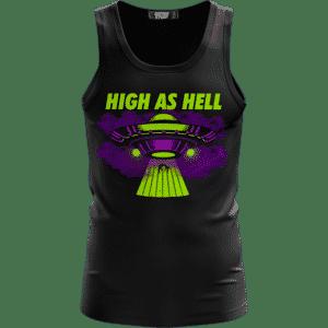 High as Hell Alien Abduction Art 420 Marijuana Tank Top