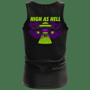 High as Hell Alien Abduction Art 420 Marijuana Tank Top Back