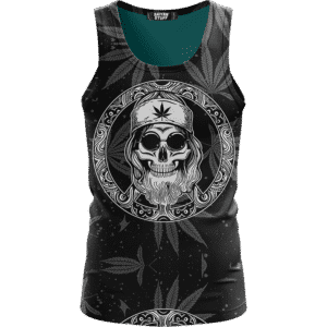 Hippie Skull Awesome Marijuana Leaves Pattern Black Tank Top