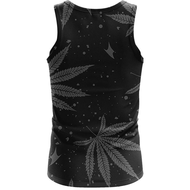 Hippie Skull Awesome Marijuana Leaves Pattern Black Tank Top - Back