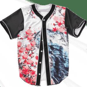 Japanese Painting Cherry Marijuana Blossoms 420 Baseball Jersey