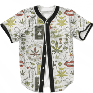 Legalize Marijuana Seamless Pattern Dope Art Baseball Jersey