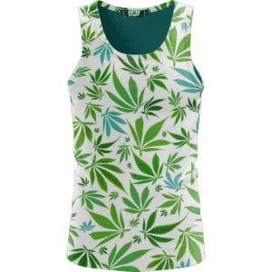 Marijuana 420 Weed Hemp Leaves Green White Dope Tank Top