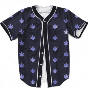 Marijuana Cool And Awesome Pattern Navy Blue Baseball Jersey