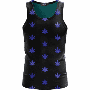 Marijuana Cool And Awesome Pattern Navy Blue Simple Tank Top