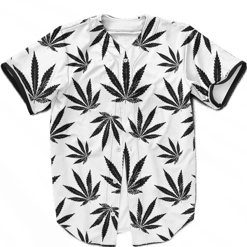 Marijuana Cool White Black Pattern Awesome Baseball Jersey