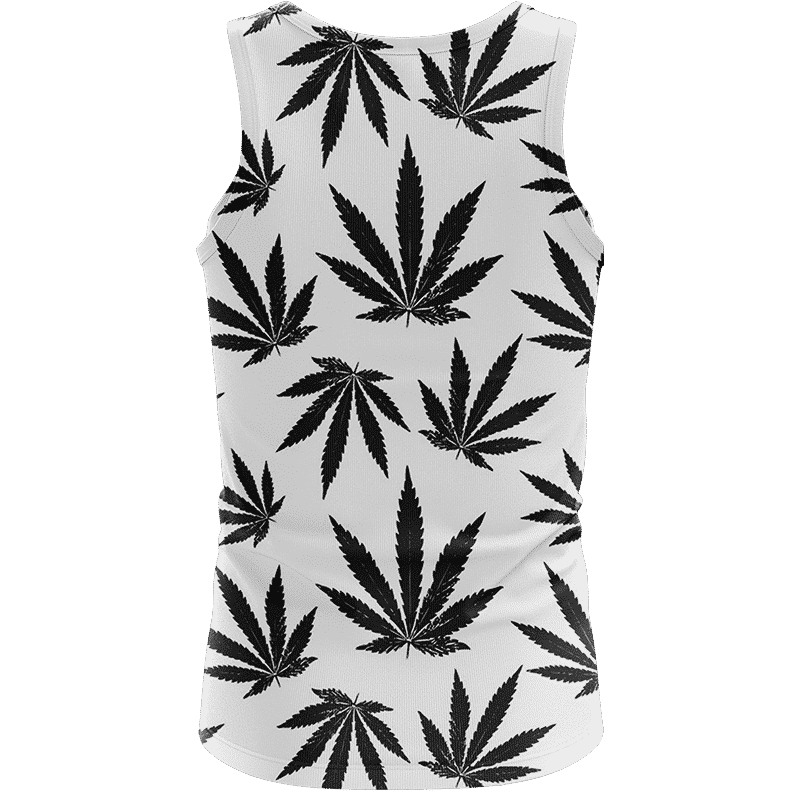 Marijuana Cool White Black Pattern Awesome Tank Top - Back