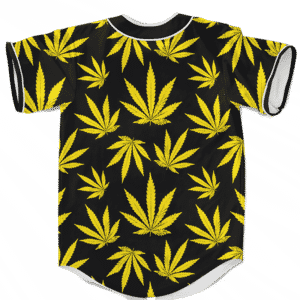Marijuana Cool Yellow Black Pattern Awesome Baseball Jersey