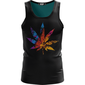 Marijuana Leaf Colorful Rainbow Logo Dope Tank Top