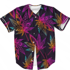 Marijuana Leaf Trippy Colors All Over Print Cool Baseball Jersey