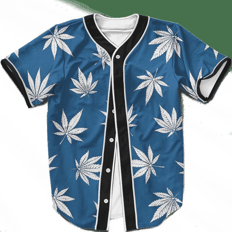 Marijuana Leaves Cool All Over Print Dark Navy Blue Baseball Jersey
