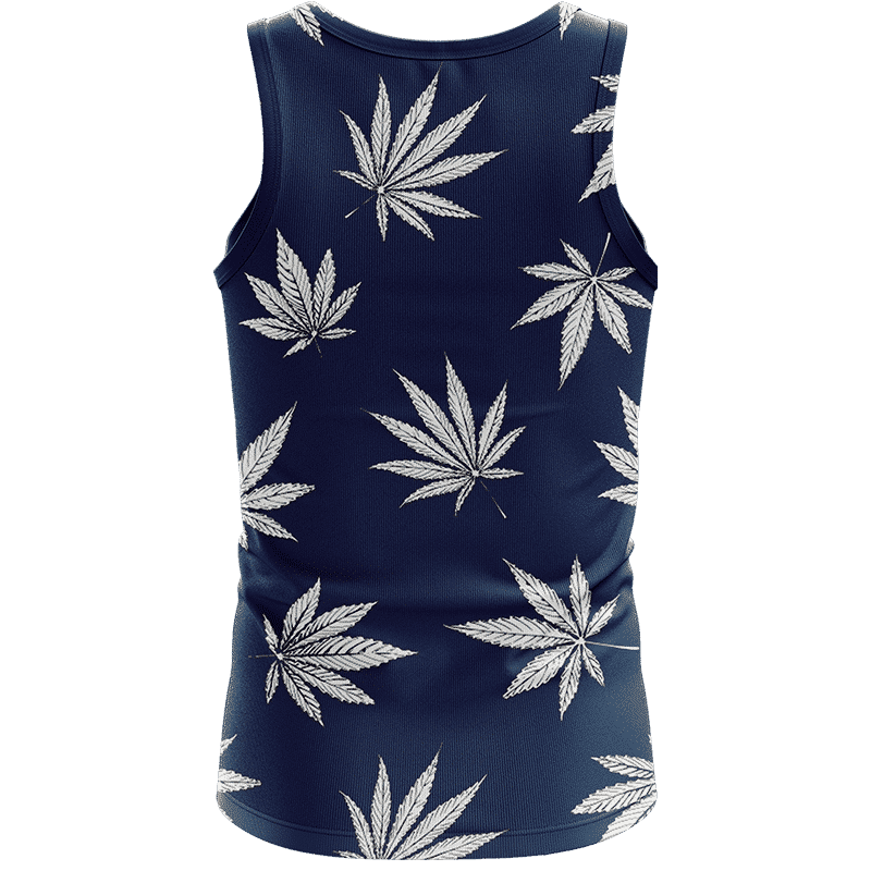 Marijuana Leaves Cool All Over Print Dark Navy Blue Tank Top - Back