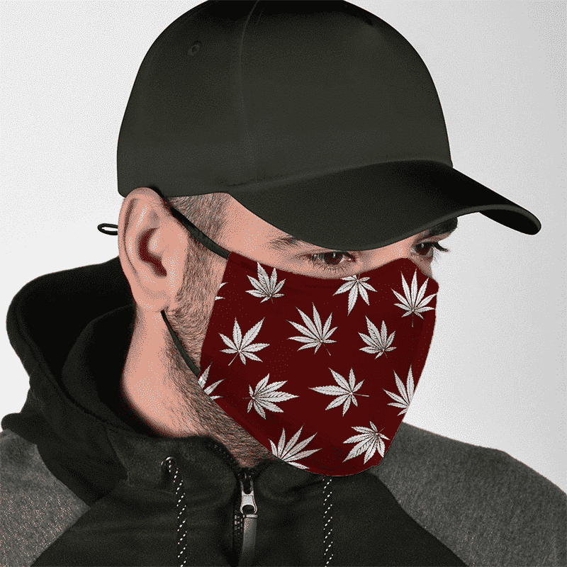 Marijuana Leaves Cool All Over Print Dark Red Face Mask - lifestyle 2
