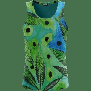 Marijuana Leaves Relaxing Poster Art Green Blue Wonderful Tank Top