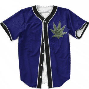 Marijuana Weed 420 Navy Blue Minimalist Awesome Baseball Jersey