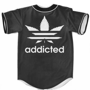 Marijuana Weed Adidas Addicted Logo Black Baseball Jersey