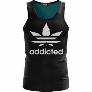 Marijuana Weed Adidas Addicted Logo Black Minimalist Tank Top