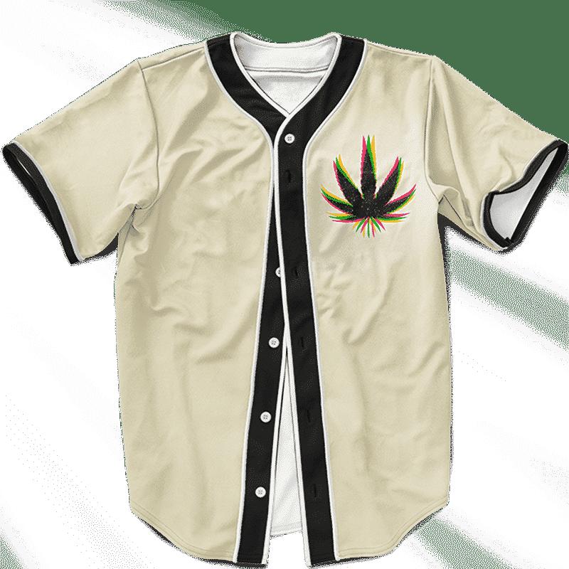 Marijuana Weed Trippy Colors Cool Awesome Baseball Jersey