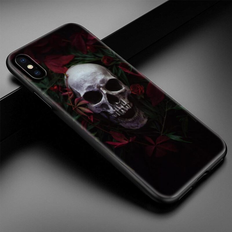 Realistic Gray White Skull & Red Flower Dope iPhone 12 Case