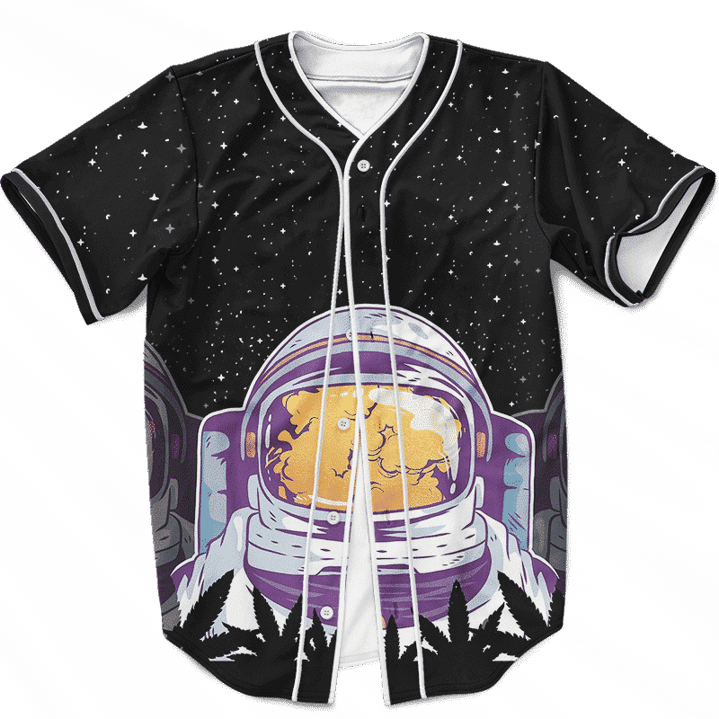 Smoking Astronaut High In Space & Mind 420 Weed Baseball Jersey