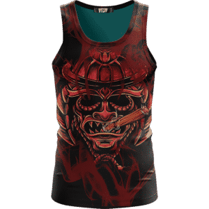 Smoking Samurai Dark Red Japanese Theme Awesome Tank Top