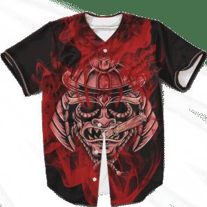 Smoking Samurai Dark Red Japanese Theme Baseball Jersey