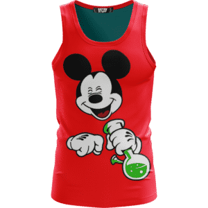 Stoned Mickey Mouse Hitting That Bong Red Awesome Tank Top