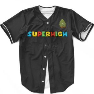 Super High Mario Parody Cute Bomb Weed Nug Dope Baseball Jersey