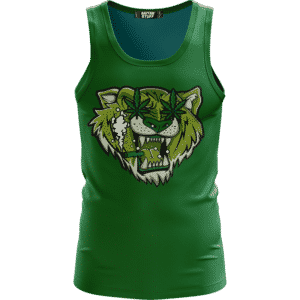 Tiger Smoking Doobie Weed Marijuana Green Awesome Tank Top