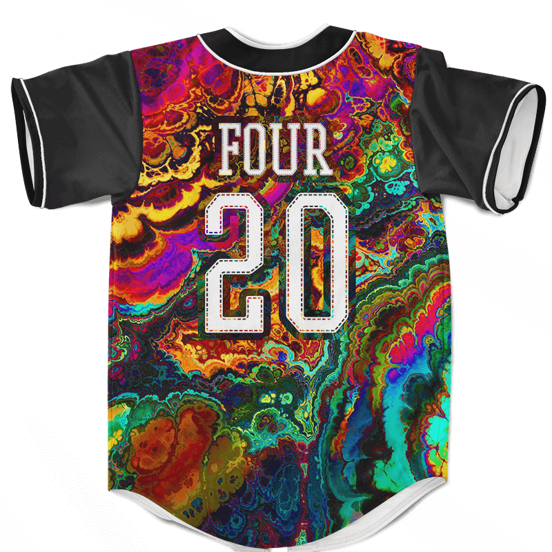 Trippy Psychedelic Classic Style Art Marijuana 420 Baseball Jersey