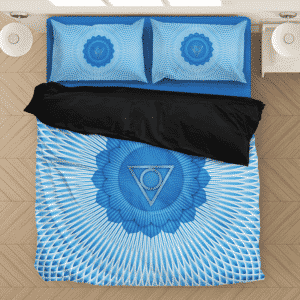 Vishuddha Throat Chakra Awakened Spiritual Blue Bedding Set