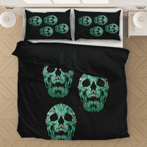Weed 420 Skull Marijuana Doobie Hemp Black Bedding Set